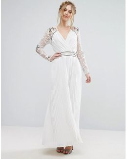 Frock & Frill Wrap Front Maxi Dress With Embellished Sleeves