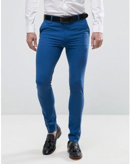 Extreme Super Skinny Smart Pants In Blue