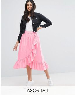 Wrap Midi Skirt In Cotton With Ruffle Hem