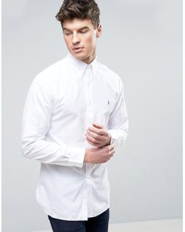 Slim Fit Poplin Shirt In White With Blue Polo Player