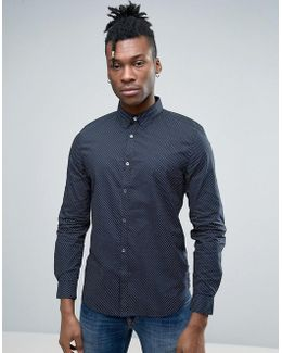 Shirt In Slim Fit With Printed Dot Detail