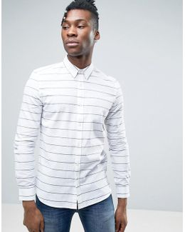 Shirt In Slim Fit With Horizontal Stripe