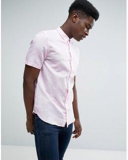 Short Sleeve Shirt In Regular Fit Linen Mix