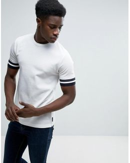 T-shirt In Pique Fabric With Arm Stripe