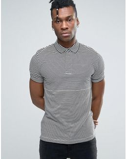 Polo Shirt With Stripe Panels