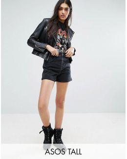 Denim Mom Shorts In Washed Black