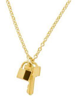 14k Gold Tiny Lock And Key Necklace