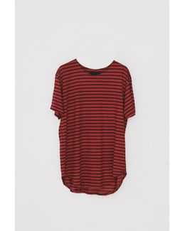 Cotton Striped T-shirt - Red