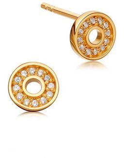 Mini Open Halo Biography Stud Earrings