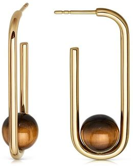 Tigers Eye Marcel Oval Hoop Earrings