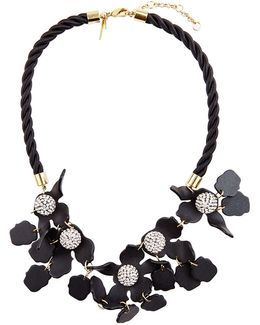 Jet Black Crystal Lily Necklace