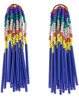 Island Hue Beaded Fringe Earrings