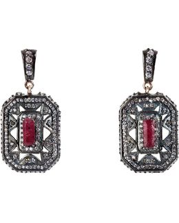 Silver Ruby Tiny Dancer Earrings