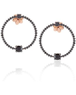 Rose Gold Black Stone Oh! Earrings