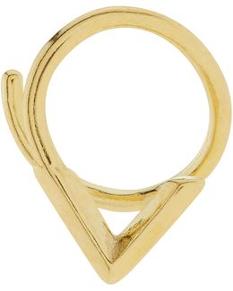 Gold Check Twirl Right Earring