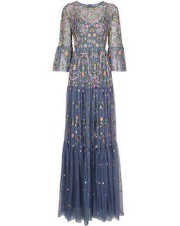 Slate Blue Dragonfly Garden Maxi Dress