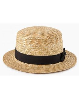 Straw Bow Band Boater