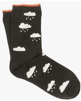 Cloudy W Chance Rain Crew Sock