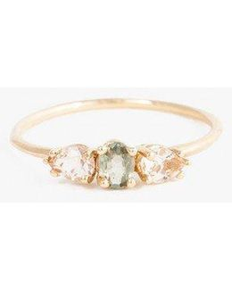 Green Sapphire With Morganite Ring