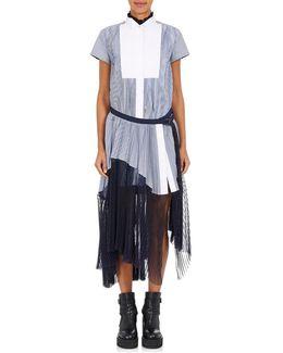 Pleated Striped Poplin & Chiffon Shirtdress