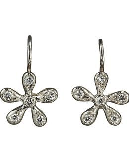 Pave Diamond Medium Daisy Earrings
