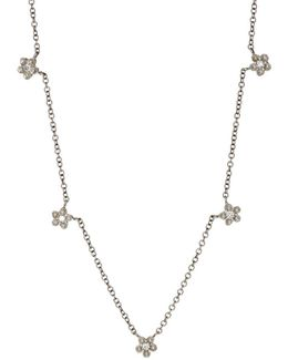White Diamond & Platinum Floral Necklace