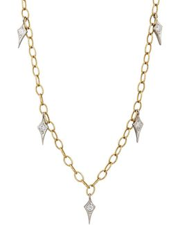 Gold & Diamond Fringe Tiny Lacy Chain Necklace