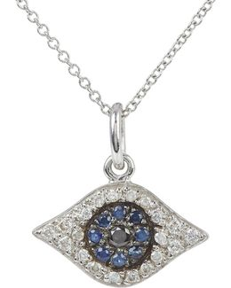 Diamond & Sapphire Kitten Eye Pendant Necklace