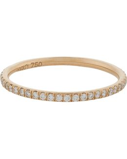 Pavé Diamond & Pink Gold Thread Band