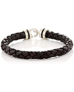 Sterling Silver & Braided Leather Bracelet