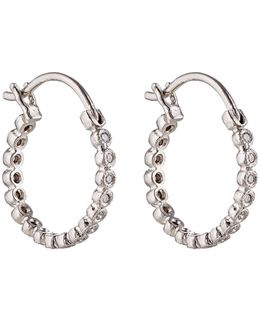 White Diamond Circle Hoops