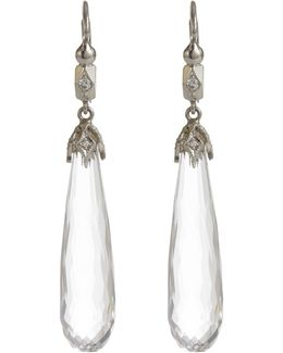 Diamond, Crystal & Platinum Drop Earrings