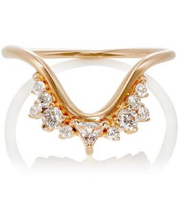 Diamond, Clear Topaz & Rose Gold Fusion Wave Small Ring