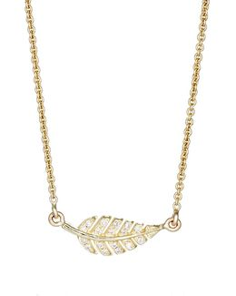 Pavé Diamond Leaf Pendant Necklace