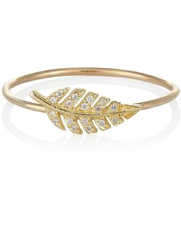 Diamond & Gold Leaf Ring
