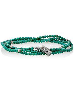 Bead & Skull Charm Wrap Bracelet