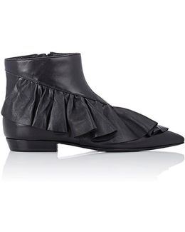 Asymmetric-ruffle Ankle Boots