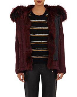 Fur-trimmed Canvas Mini Parka Jacket