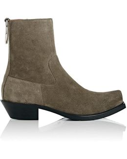 Ring-Embellished Suede Ankle Boots