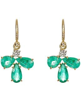 White Diamond & Emerald Drop Earrings