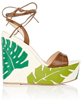 Grenada Leather & Canvas Wedge Sandals