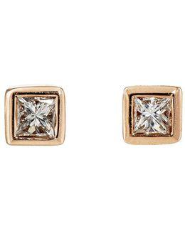 White Diamond Square Studs