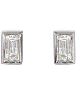 Baguette White Diamond Stud Earrings
