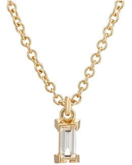 Baguette White Diamond Pendant Necklace