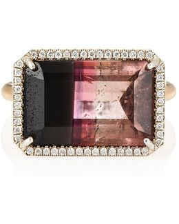 White Diamond & Bicolor Tourmaline Ring