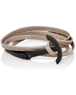 Modern Anchor On Leather Wrap Bracelet