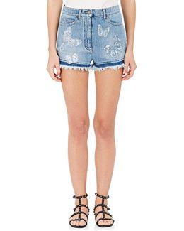 Butterfly Appliqué Denim Shorts