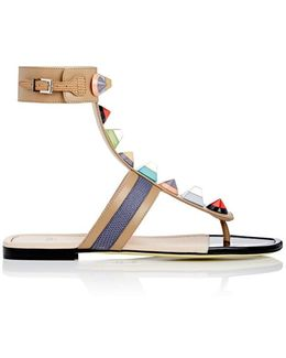 Studded Leather Gladiator Sandals