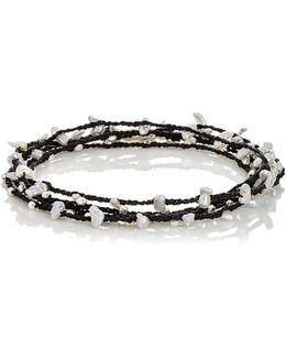 Keshi Pearls & Silver Beads On Cord
