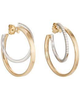 Mixed Diamond Hoop Earrings